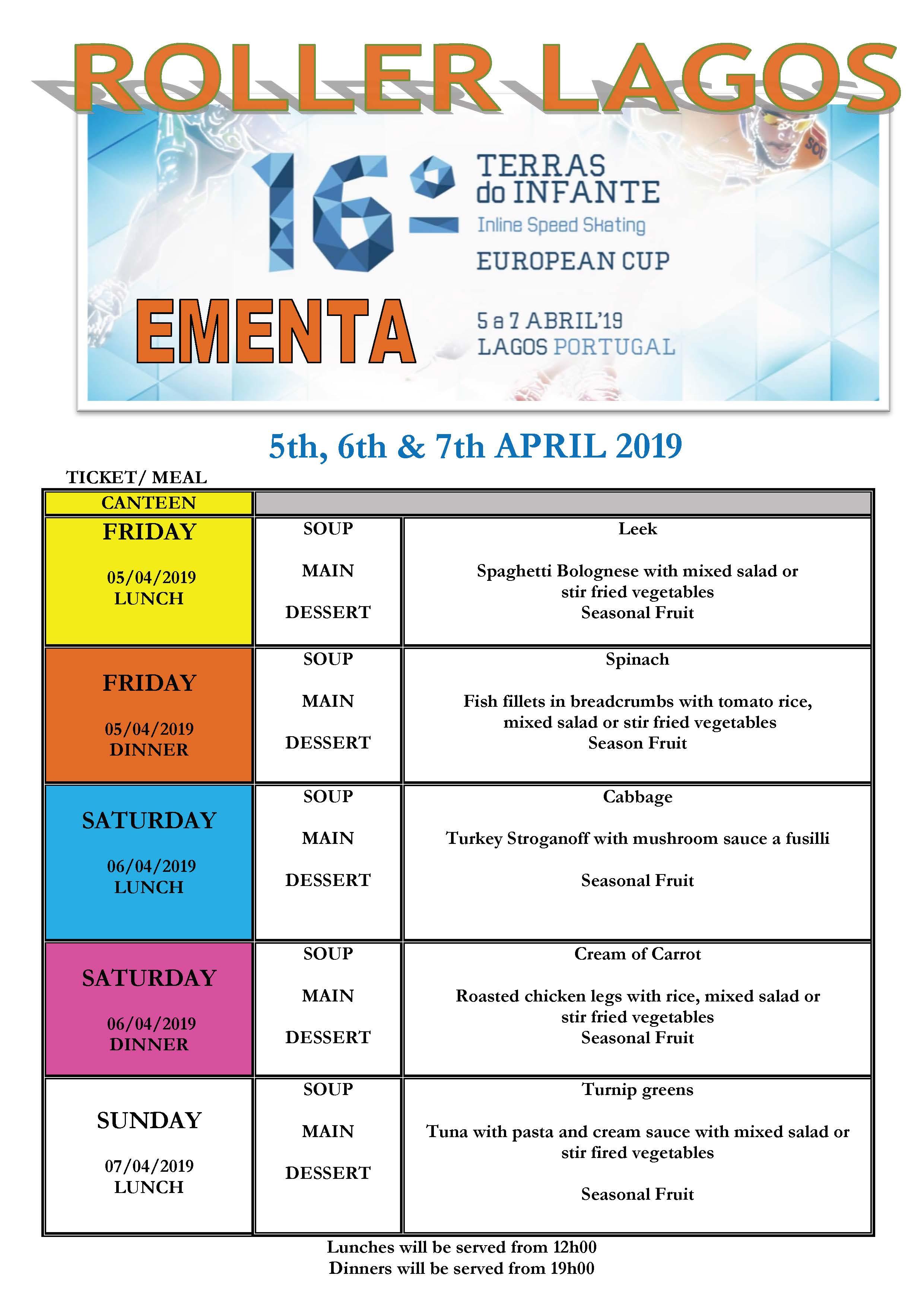 menu for the days of the terras do infante tournament Menu for the days of the Terras do Infante Tournament EMENTA TORNEIO TERRAS DO INFANTE 2019 english