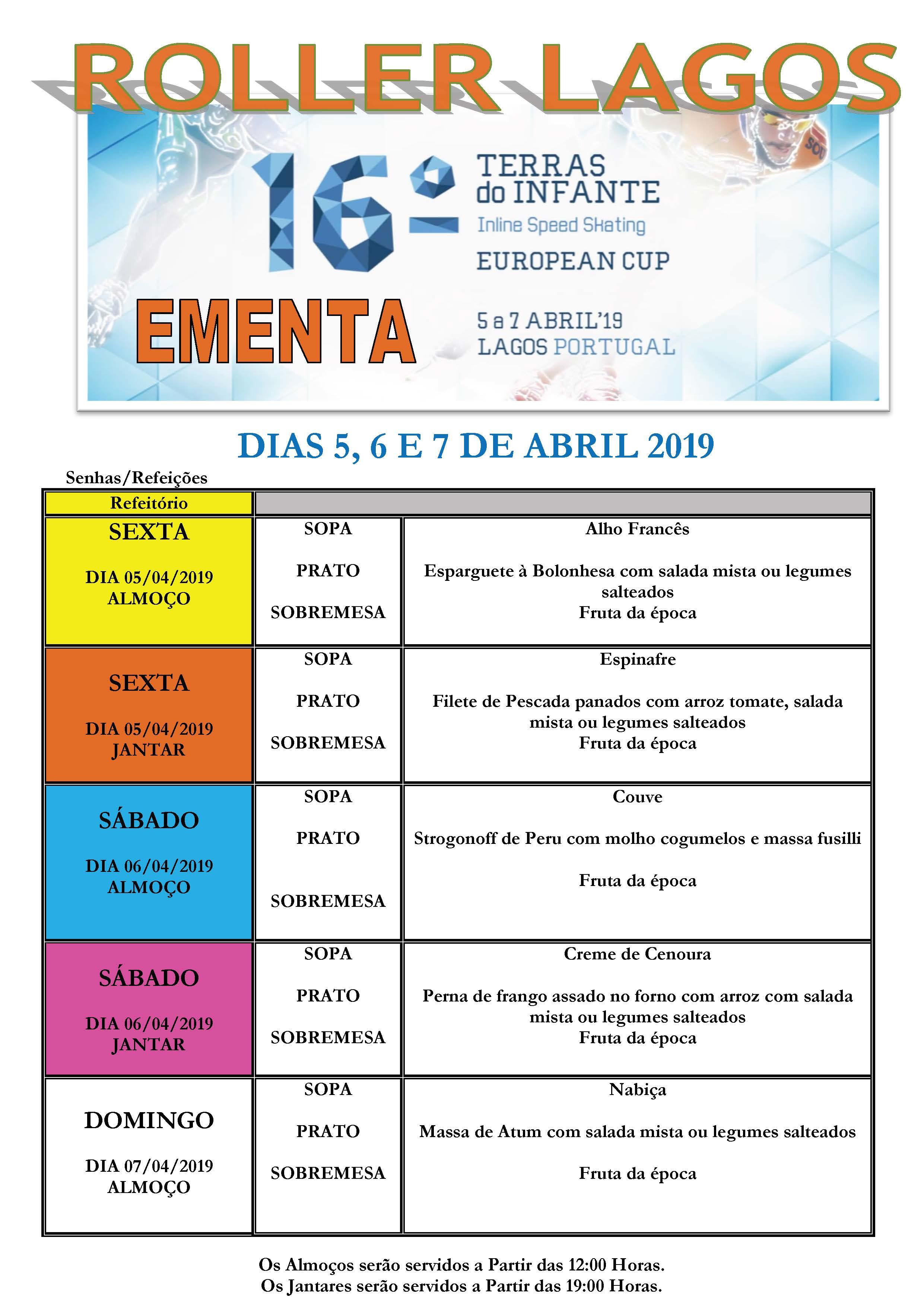 ementa para os dias do torneio terras do infante Ementa para os dias do Torneio Terras do Infante EMENTA TORNEIO TERRAS DO INFANTE 2019